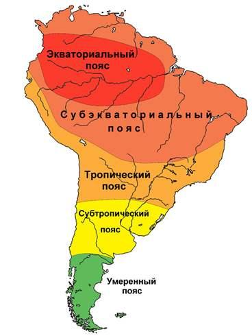 карта климатических поясов северной америки