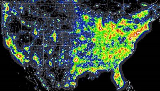 карта светового загрязнения США