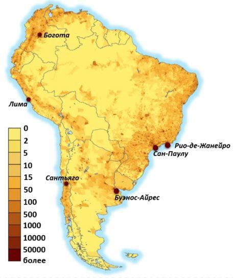 Карта плотности населения Южной Америки