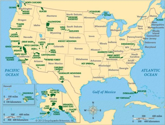 Карта национальных парков США